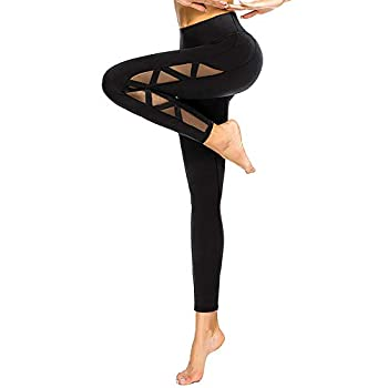 romansong Mesh Workout Leggings with Pockets High Waisted Distressed Butt Lifting Cute Ripped Cutout Soft Lace Dressy Leggings Sexy Yoga Pants for Women Black,Small