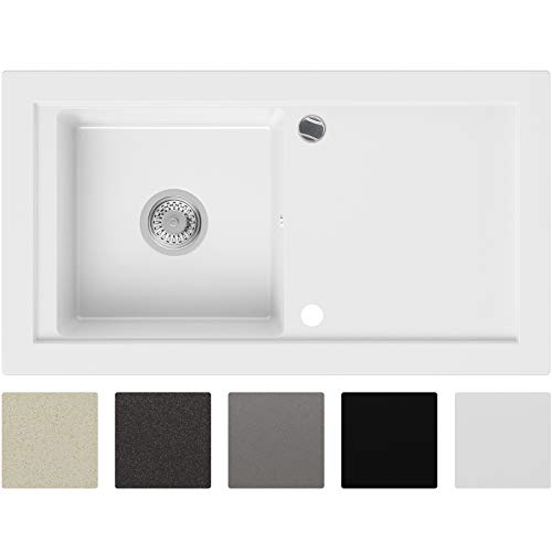 Granitspüle Weiß 89 x 49,5 cm, Spülbecken + Siphon Automatisch, Küchenspüle ab 60er Unterschrank in 5 Farben mit Siphon und Antibakterielle Varianten, Einbauspüle von Primagran