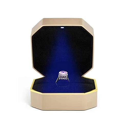 Velvet - Caja para anillos con luz LED, caja para anillos, expositor, caja de regalo para matrimonio, compromiso, boda (negro)