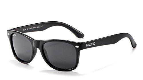 Miuno® Kinder Sonnenbrille für Jungen und Mädchen Etui 2688 (matt Schwarz)