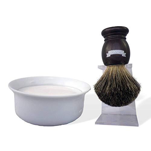 Plisson scheerset scheerkwast dakshaar, parelmoer, natuurlijk haar, grijs, maat 12, houder voor kom en zeep