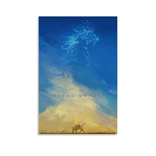 DWBG Ashitaka Prinzessin Mononoke, Poster, Leinwand, Wandkunst, japanisches Anime-Poster für Schlafzimmer, Wände, Heimdekoration, 30 x 45 cm, 2 Stück