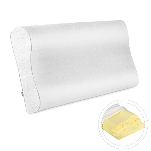 Mastery Mart Orthopedic Sandwich Contour Pillow, Adjustable Memory Foam Sleeping Pillow, Cervical Contoured for Back, Shoulder, Stomach, and Side Sleeper, Bamboo Cover Case, CertiPUR-US (60x35cm)