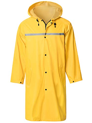 SaphiRose PONCHO Herren Regenmantel Wasserdichte Lange Regenjacke Outdoor Wiederverwendbare Regenbekleidung Gelb L