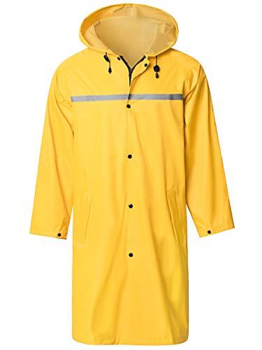 TACVASEN Mens Portable Raincoat Hooded Rain Jacket Reusable Poncho Long Sleeves