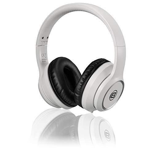 Bresser Kopfhörer Bluetooth Over-Ear-Headphone mit integrierten Mikrofon für Gaming oder Telefonie, 3.5 Klinkenanschluss und bis zu 8 Stunden Laufzeit, weiß