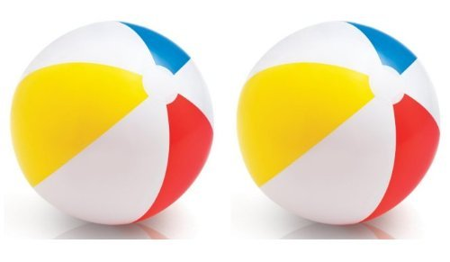 INTEX Classic Inflatable Glossy Panel Colorful Beach Ball - (Set of 2) | 59020EP by Intex