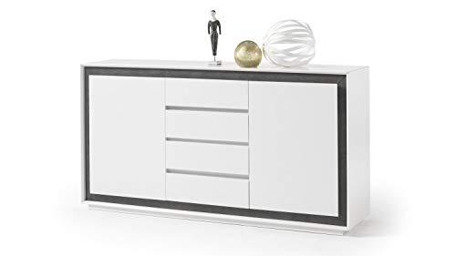 Möbel Akut Sideboard Durban weiß matt lackiert Frontrahmen Beton Dekor Schrank Vier Schubkästen