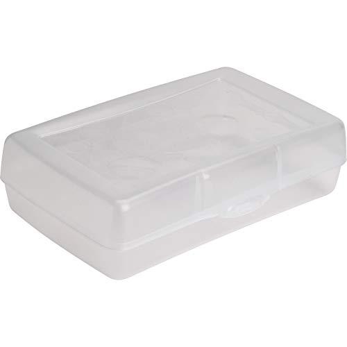 Sparco Clear Plastic Pencil Box Storage Case