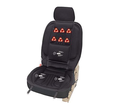 WOLTU HF004sz Sitzheizung Auto Heizkissen Heizauflagen Massageauflage, Massagesitzauflage mit 3 Massagezonen Heizung für den Rücken Überhitzungsschutz 12V 97 cm x 48 cm Schwarz
