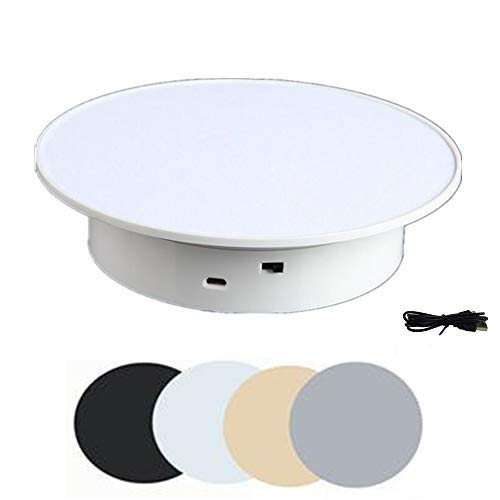 White Display 360 Degree Electric Turntable 778inDiameter jewelry watches model for Small Product Display