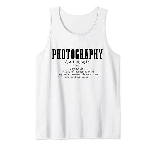 Fotografía Definición Diccionario Cámara Fotógrafo Divertido Camiseta sin Mangas