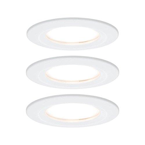 Paulmann 93460 Einbauleuchte LED Coin Nova rund 6,5W Weiß 3er-Set starr IP44 spritzwassergeschützt