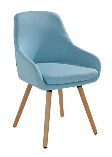 Home4You Stuhl Esszimmerstuhl Küchenstuhl | Hellblau | Buchenholz | Webstoff