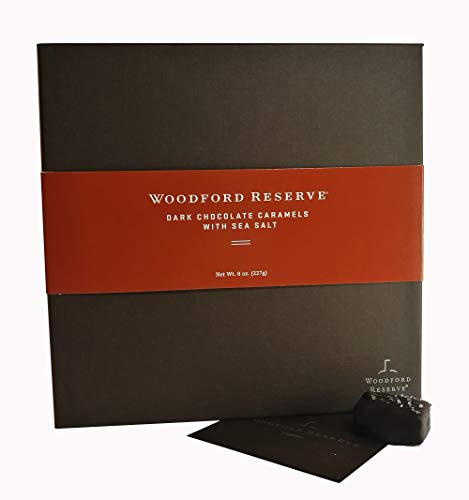 Woodford Reserve Premium Bourbon Dark Chocolate Caramels with Sea Salt Gift Box, 16 Candies per box, delicious and perfect for holiday gifts