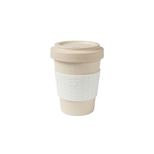BIOZOYG Nachhaltiger Bamboo Kaffeebecher mit Deckel und Silikonmanschette I Heißgetränkebecher Kakaobecher Teebecher Bambus Becher to go Bio Becher BPA frei I weiß 300 ml