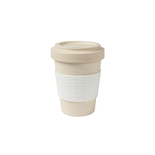 BIOZOYG Taza de café de bambú sustentable Libre de BPA con Tapa y Agarre de Silicona I Taza de Bebida Caliente Taza de té, Taza de Cacao, Taza orgánica portátil I Blanco 300 ml