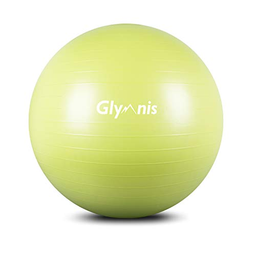 Glymnis Gymnastikball Sitzball 55cm 65cm 75cm Dicker Pilates Ball inkl. Luftpumpe Anti-Burst Yoga Ball Robuster 300kg Maximalbelastbarkeit für Core Fitness Hause Büro