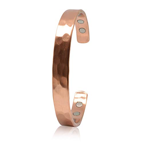 COPPERVEDA Copper Bracelet for Arthrities-Adjustable Bracelet for Men and Women with 6 Powerful Therapy Magnets-Effective & Natural Relief for Joint Pain and Carpal Tunnel(Golf Hammered)