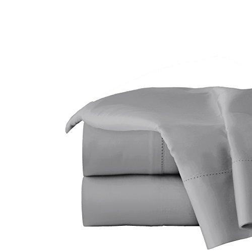 Pointehaven Juego de sábanas de algodón orgánico de 300 Hilos, Gris Individual
