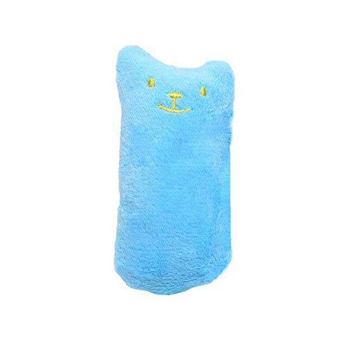 Eleusine Quietschendes Plüschtier Weiche Kauzähne Reinigungsspielzeug Haustier Katzenspielzeug Gefüllte Katzenminze Spielzeug (blau)