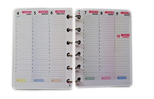 tipome Ricarica Calendario settimanale Formato A7 Pocket 8x12cm per Agenda con 6 Anelli
