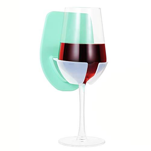 Soporte para copas de vino, soporte de silicona para baño, el soporte de copa de vino para bañera es accesorio de ducha relajante, puede contener copas de vino altas y copas de cerveza (verde)