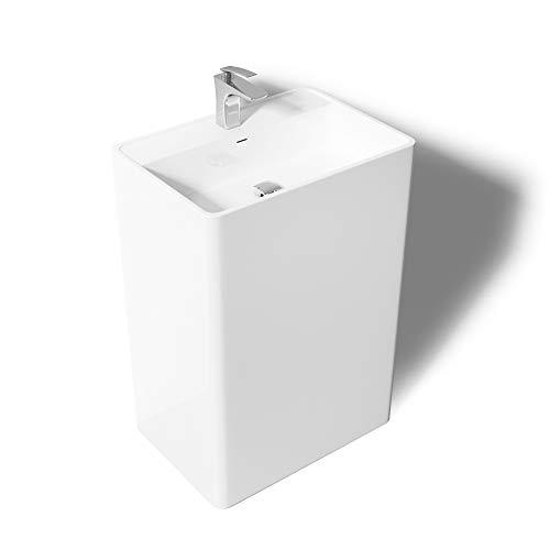 Mai & Mai lave main évier vasque 42x50x90cm en résine de synthèse blanc rectangulaire avec perçage pour robinet lavabo avec trop-plein à poser au sol Col34