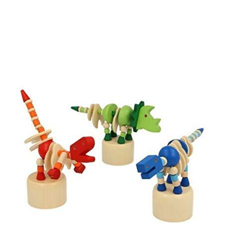 Dinosaure en bois Poussoir Marionnette – Peluche – Assortiment de Couleurs/motifs