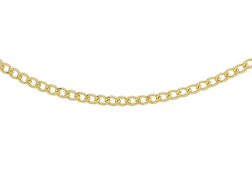 Carissima Gold Unisex 9 ct Yellow Gold 1.7 mm Flat Curb Chain Necklace of Length 41 cm/16 Inch