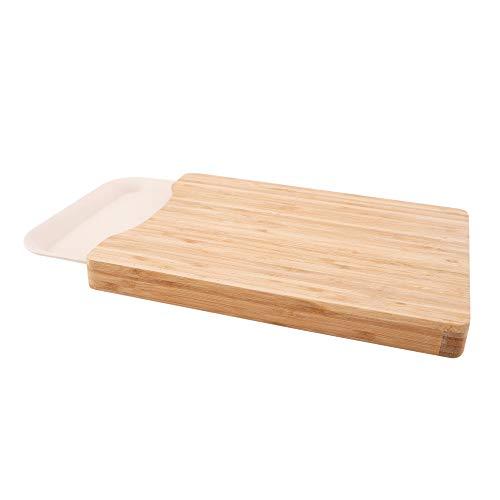 Point-Virgule planche à decouper en bambou avec plateau de collection en fibre de bambou, accessoire cuisine, 37 x 27.5 x 3.4 cm
