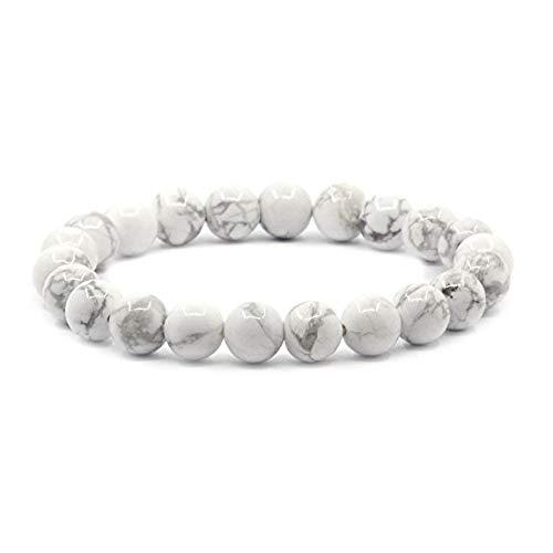 Pulseras Chakra   Elástico   Piedra natural de 8 mm - para su bienestar - fuerza - potencia - salud   Jaspe blanco