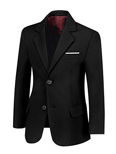 SaiLiiny Boys Blazer Slim Suit Coat with Lapel Formal Classic Suits One-Button Jacket for Kids Size 10 Black