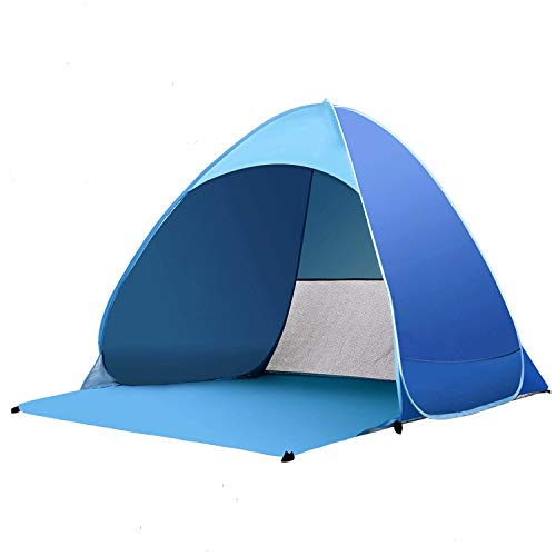 Kratax Pop Up Beach Tent for 1-3 Person, Automatic Instant Beach Tent, Rated UPF 50+ for UV Sun Protection - Includes Carry Travel Bag & Tent Pegs