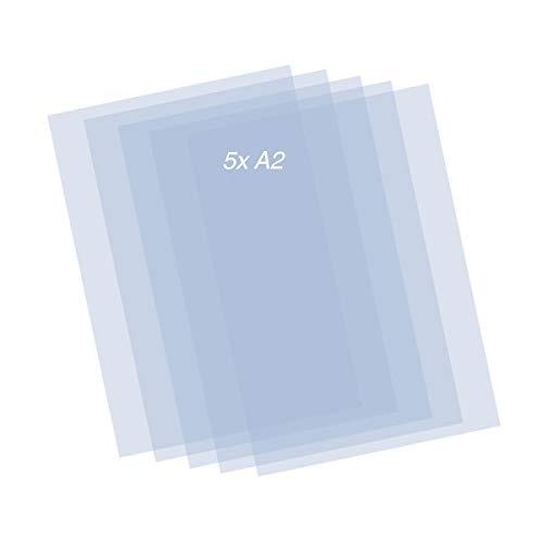 QBIX - Hojas de plantilla de plástico (5 unidades, 0,2 mm, A2), transparente
