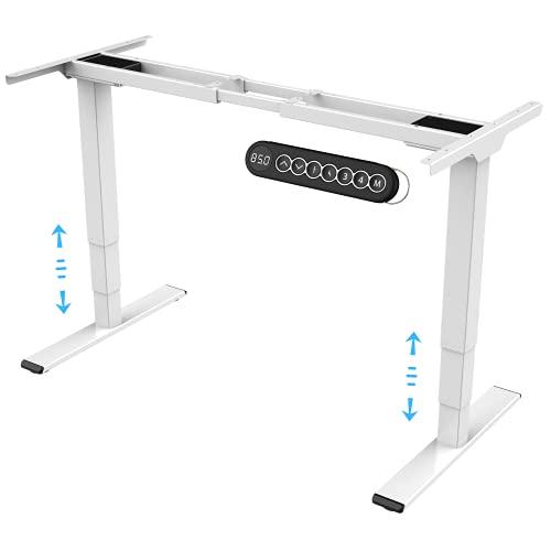 E.For.U® E6 Elektrisch höhenverstellbarer Schreibtisch (Dualer Motor, Weiß) höhenverstellbares Tischgestell 2 Motoren,3-Fach-Teleskop, mit Memory-Steuerung (Weiß)