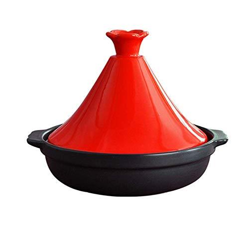 LIUSHI Cacerola de cerámica Resistente al Calor con Tapa para 3-5 Personas Hecho a Mano en Marruecos Libre de Materiales tóxicos para su Cocina marroquí Rojo