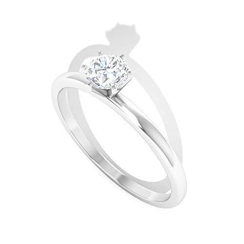0,7 Karat Diamant IGI zertifizierter Verlobungsring, HI-SI Farbe Klarheit Diamant Brautring, Solitär Arbeitskleidung Partywear Ring, Gold Hochzeit Versprechen Ring, 14K Weißes Gold, Size:EU 51