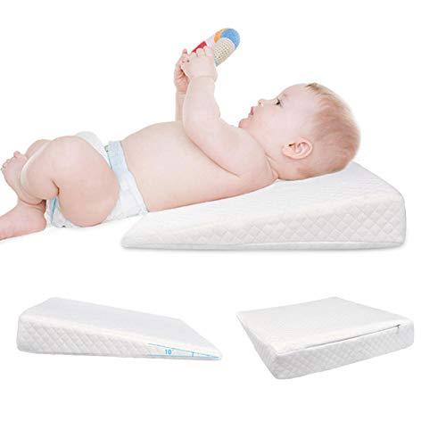 Kentan Almohada de cuña de Cuna para bebé congestión de cólico antirreflujo Almohada de cuña Universal Almohada de cuña de Embarazo Inclinada de 12 Grados con Funda de algodón Impermeable Trendy