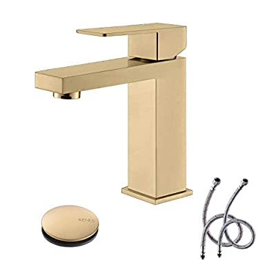 KENES Brushed Gold Bathroom Faucet, Modern Single Hole Bathroom Faucet, Stainless Steel Bathroom Sink Faucet, with Drain Assembly and cUPC Lead-Free Hose