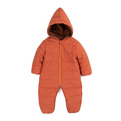 Baby Kapuze Strampler Outfits Overall Leichte Jumpsuit Herbst Winter Warme Schneeanzug Onesies Geschenk für Jungen Mädchen 9-12 Monate Braun