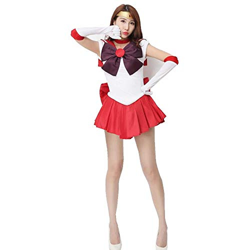 OURCOSPLAY Women's Sailor Moon Hino Rei Cosplay Costume 6 Pcs Set (Women US S/CN M) Red