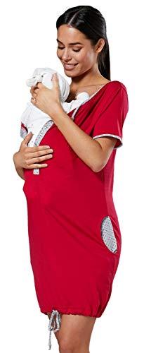HAPPY MAMA Damen Mutterschaft Lieferung Krankenhaus-Kleid Nachtwäsche 209p (Himbeere, 36, S)