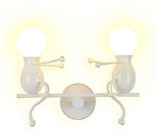 XXLYY Moderne LED Applique Murale Industrielle Rétro Appliques Chambre Créative Petites Personnes Applique Murale Éclairage Intérieur en Métal LED Lampe De Chevet pour Enfants Chambre-Blanc