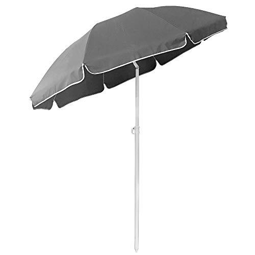 LZQ Rund Sonnenschirm 200 cm Marktschirm Gartenschirm UV50+ Höhenverstellbar (Grau)