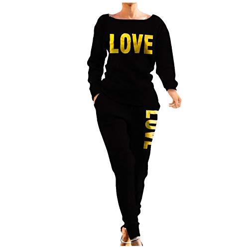 DAY8 Tute Donna Eleganti da Cerimonia Completo Invernali Primavera Love Maglieria Donna 2 Pezzi Camicia E Pantaloni Donna Tuta Sportivi Taglie Forti (Nero, S)