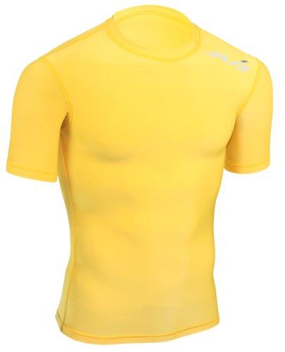 Sub Sports Kinder Cold Kompressionsshirt Thermisch Funktionswäsche Base Layer kurzarm, Gelb, 128/134
