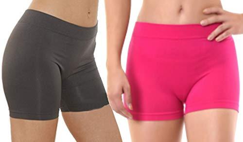 Damen Yoga-Shorts, nahtlos, Stretch, Einheitsgröße, 2er-Pack, Anthrazit und Fuchsia, 2 Stück