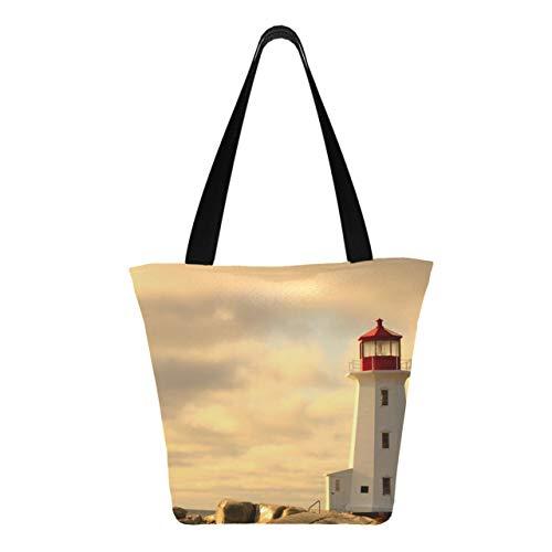 Lighthouse Sunset Ocean View 11 × 7 × 13 pollici Lavabile in lavatrice Robusto poliestere Borse da donna Borsa per la spesa riutilizzabile riutilizzabile pieghevole per lo shopping
