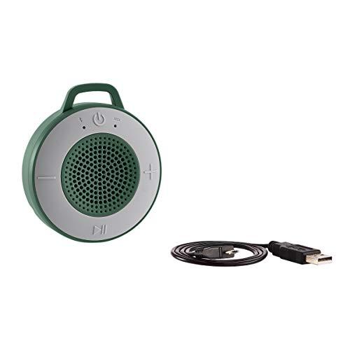 AmazonBasics - Altavoz inalámbrico para ducha, incluye ventosa y micrófono incorporado, 5 W, verde